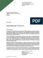 Carta de Suiza al Ministerio de Salud y Protección Social de Colombia