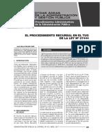 El Procedimiento Recursal en El Tuo de La Ley 27444 - Autor José María Pacori Cari