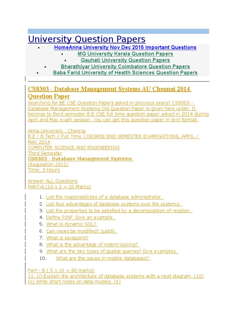 Paper Databases Data Management Database Issues Examples