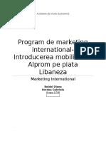 Program de Marketing International- Introducerea Mobilierului Alprom Pe Piata Libaneza