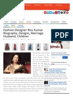 Fashion Designer Ritu Kumar Biography, Designs, Marriage, Husband, Children _ Youth Developers