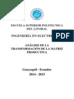Análisis de La Transformación de La Matriz Productiva Ecuador