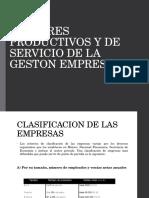 sectores productivos y de servicio de la gestion