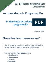 Tema II - Elementos Del Lenguaje de Programacion - 16O