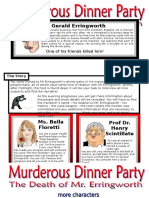Murderous Dinner Party Roleplay Conversation Cards 7 Pages