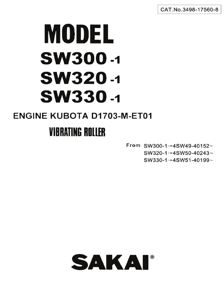 Sakai Vibro Rollers SW 300, 320, 330- Parts Cataloge