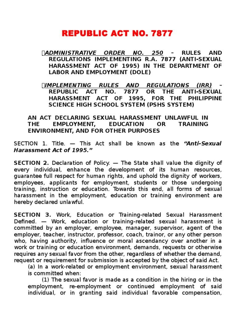 Anti-sexual harassment law ra 7877 summary