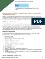 Sulphuric Acid Loading, Carrying & Discharging - Special Handling Methods