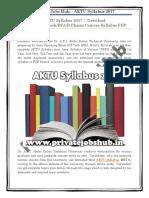 AKTU Syllabus 2017   Download MBA/MCA/B.Tech/BFA/B.Pharm Courses Syllabus PDF