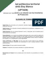 Glosario y Metodos de Valoracion Administracion de La Produccion Unidad III