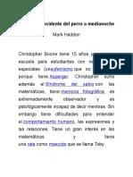 Resumen y Critica de La Novela El Curioso Incidente Del Perro a Medianoche