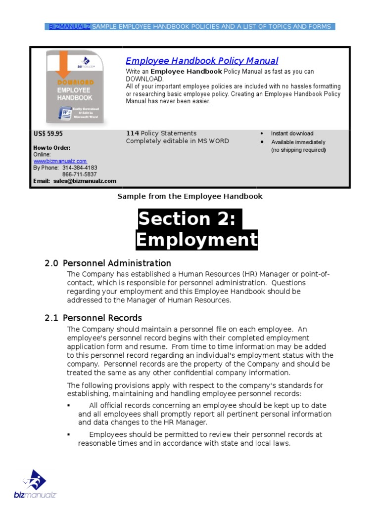 Great Employee Policy Manual Template Ideas - Professional Resume ...