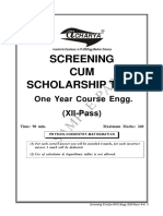XII Pass Screening Test Engg Sample Paper