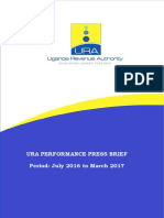 Uganda Revenue Authority 9 months Revenue Performance Report for the period (July 2016 - March 2017).