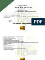 Certifica de Empilhadeira