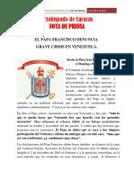 Arzobispado de Caracas Nota de Prensa 1 de Mayo de 2017