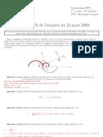 INSA Toulouse 1A Mecanique Du Point Examen Mars 2009 Correction