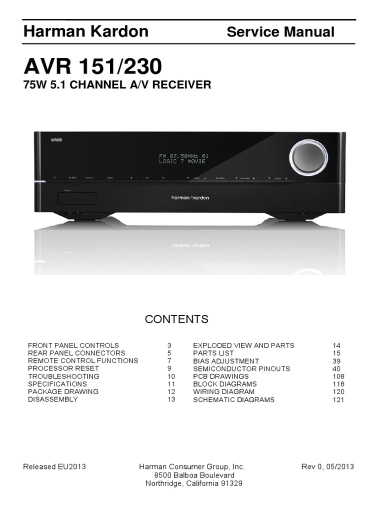 Harman Kardon Avr151 230 Service Manual Rev 0 | Hdmi | Electrical