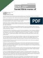 Journalist Naomi Klein Warns of Hypocrisy