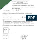 AVALIAÇÃO  equações incompletas