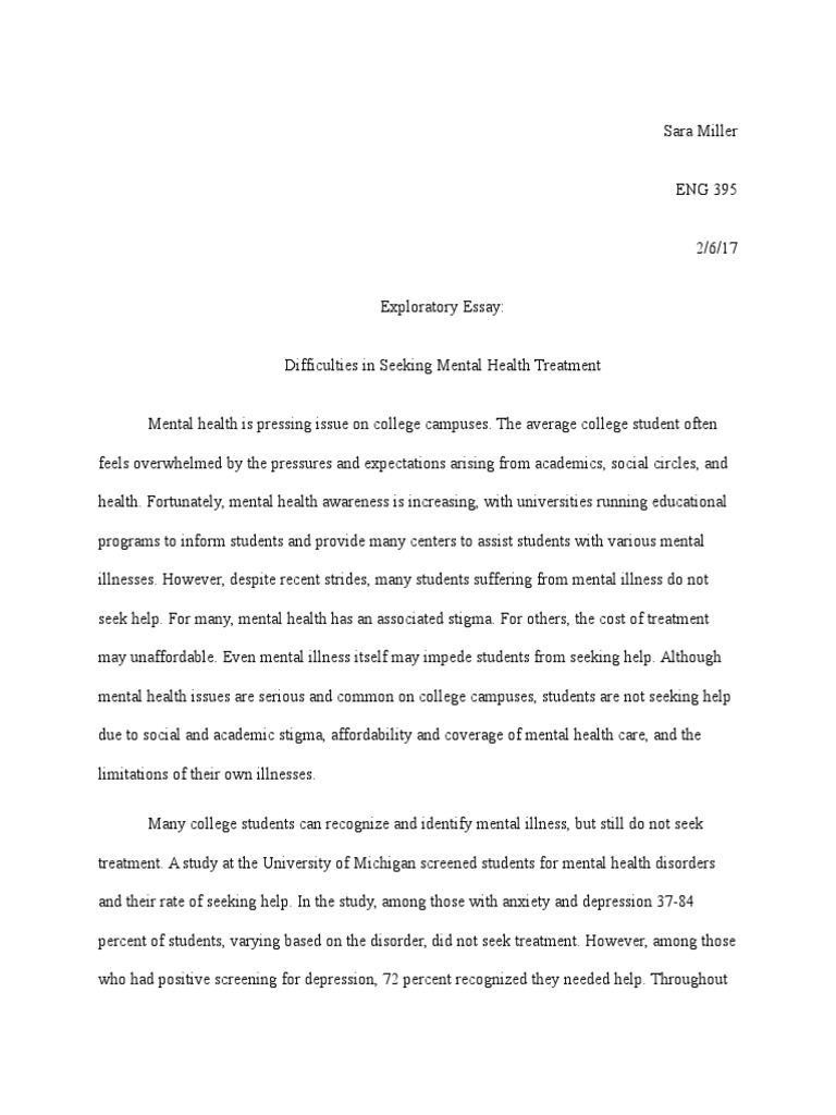 Essay On Mental Health Awareness  Mistyhamel Exploratory Essay Final Draft Mental Health Social Stigma