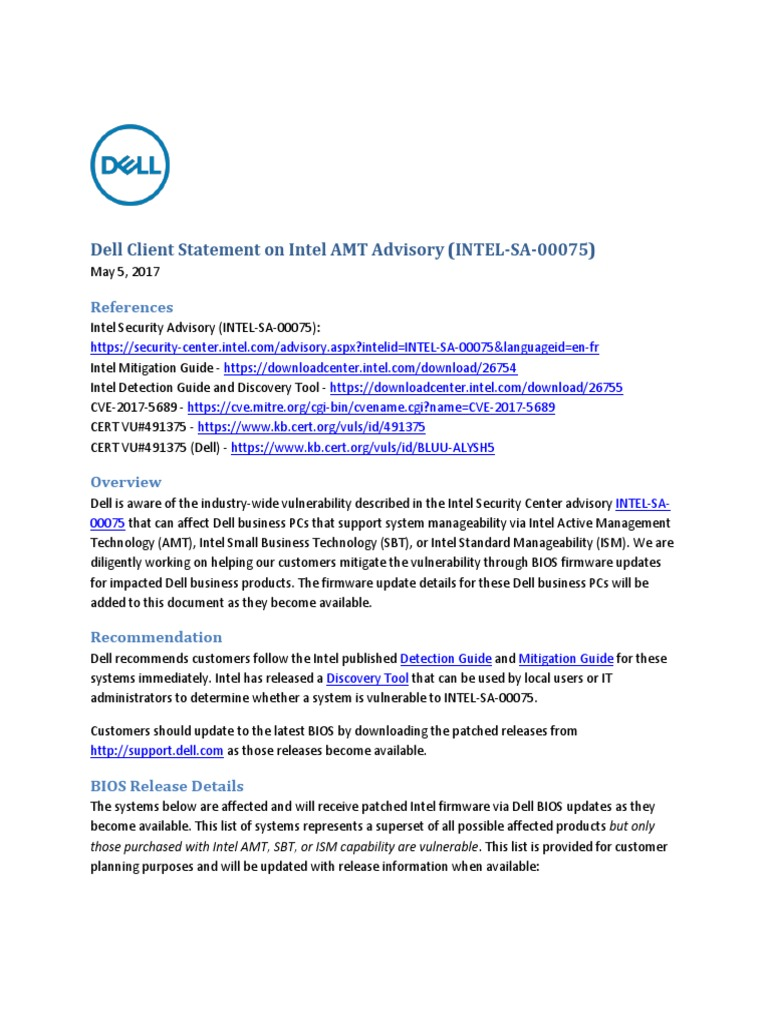 Dell Client Statement on Intel AMT Advisory (INTEL-SA-00075