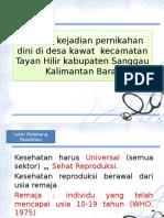 Analisis Kejadian Pernikahan Dini PPT