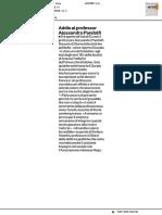 Addio al professor Alessandro Pandolfi - Il Corriere Adriatico del 16 maggio 2017