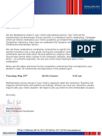 completion ceremony - letter to parents
