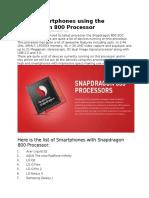List of Smartphones Using the Snapdragon 800 Processor