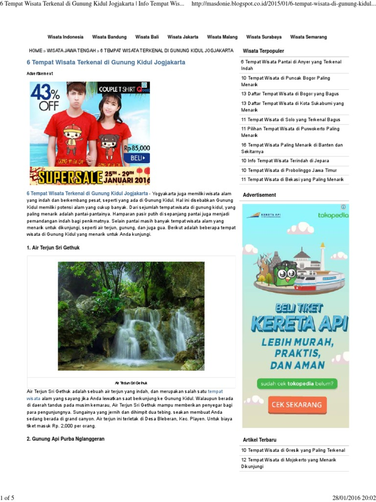 6 Tempat Wisata Terkenal Di Gunung Kidul Jogjakarta Info Tempat