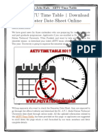 Latest AKTU Time Table   Download Even Semester Date Sheet Online