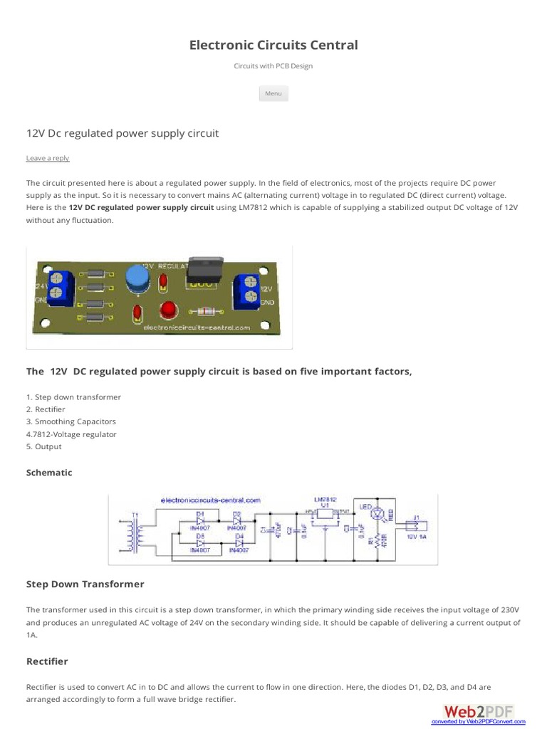 12v Dc Regulated Power Supply Circuit Direct Current Transformerless