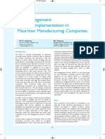 Risk Management Process Implementation in Mauritian Manufacturing Companies