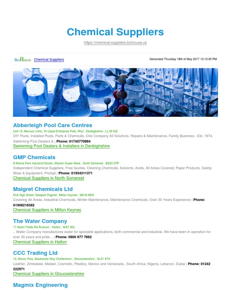 Chemical Suppliers BizHouse uk | Industries | Materials