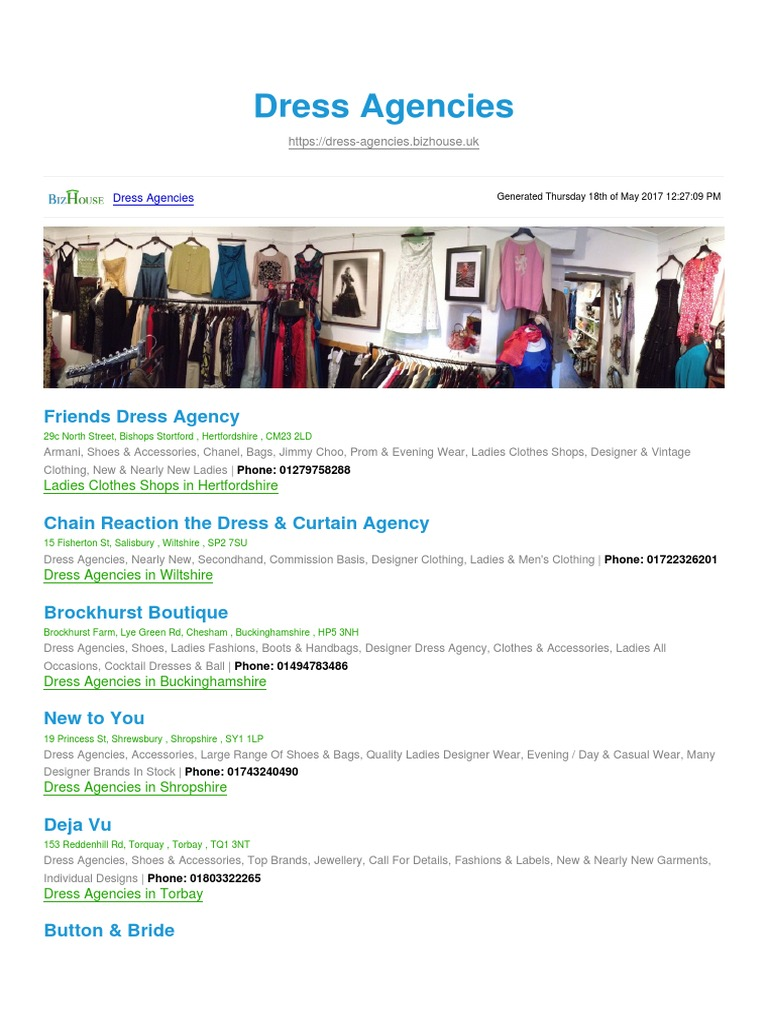Dress Agencies BizHouse.uk