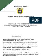 Decreto 1443 de 2014.SGSST