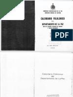 Calendario Folclorico de La Paz - 1956