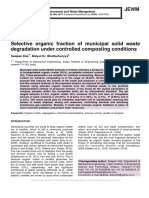 Selective organic fraction of municipal solid waste degradation under controlled composting conditions