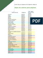 Codigo Colores HTML