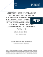 Tesis y Taller de Habilidades Sociales. 2014