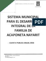 Cuenta Publica DIF 2016