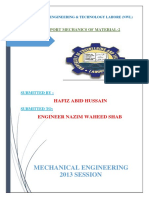 Mechanics of Material Lab Report