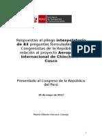 Respuestas del MTC al pliego interpelatorio en el Pleno del Congreso