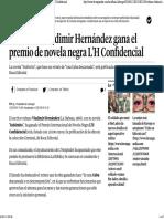 El Cubano Vladimir Hernández Gana El Premio de Novela Negra L'H Confidencial