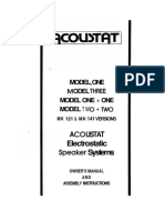 Acoustat Model 1 Owners Manual
