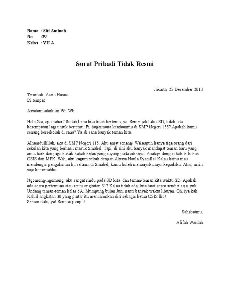Surat Pribadi Dan Surat Dinas Kelas 7
