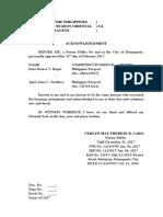 Legal Form - Acknowledgment