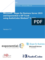 LTRT-12790 Mediant E-SBC for Exponential-e SIP Trunk With Microsoft Skype for Business 2015 Configuration Note Ver. 7.2