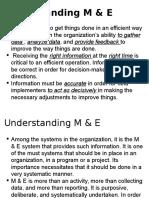 Understanding M & E